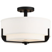Frankie 3 Light 15 inch Aged Bronze Semi Flush Mount Ceiling Light