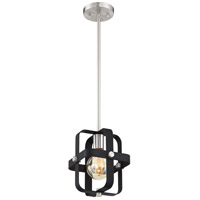Nuvo 60/6621 Prana 1 Light 8 inch Matte Black and Brushed Nickel Mini Pendant Ceiling Light