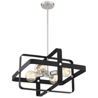 Nuvo 60/6622 Prana 4 Light 20 inch Matte Black and Brushed Nickel Pendant Ceiling Light