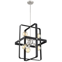 Nuvo 60/6623 Prana 6 Light 18 inch Matte Black and Brushed Nickel Pendant Ceiling Light