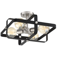 Nuvo 60/6624 Prana 4 Light 16 inch Matte Black and Brushed Nickel Flush Mount Ceiling Light