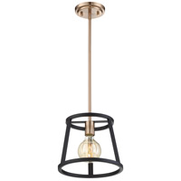 Nuvo 60/6641 Chassis 1 Light 10 inch Copper Brushed Brass and Matte Black Mini Pendant Ceiling Light