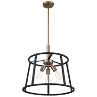 Nuvo 60/6642 Chassis 3 Light 20 inch Copper Brushed Brass and Matte Black Pendant Ceiling Light
