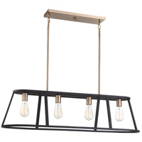 Nuvo 60/6644 Chassis 4 Light 40 inch Copper Brushed Brass and Matte Black Island Pendant Ceiling Light