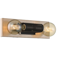 Nuvo 60/6662 Passage 2 Light 15 inch Copper Brushed Brass and Black Vanity Light Wall Light