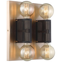 Nuvo 60/6663 Passage 4 Light 14 inch Copper Brushed Brass and Black Flush Mount Ceiling Light
