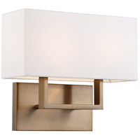 Nuvo 60/6717 Tribeca 2 Light 14 inch Burnished Brass and White Vanity Light Wall Light