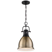 Nuvo 60/6753 Watson 1 Light 10 inch Matte Black and Burnished Brass Pendant Ceiling Light