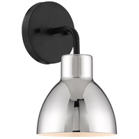 Nuvo 60/6771 Sloan 1 Light 6 inch Matte Black and Polished Nickel Vanity Light Wall Light