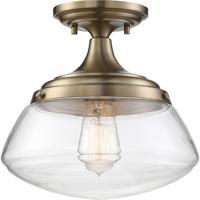 Nuvo 60/6797 Kew 1 Light 10 inch Burnished Brass Semi Flush Mount Ceiling Light