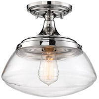 Nuvo 60/6798 Kew 1 Light 10 inch Polished Nickel Semi Flush Mount Ceiling Light