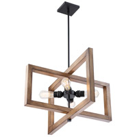Nuvo 60/6825 Beacon 4 Light 24 inch Black and Honey Wood Pendant Ceiling Light, Large