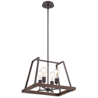 Nuvo 60/6893 Outrigger 4 Light 14 inch Mahogany Bronze and Nutmeg Wood Pendant Ceiling Light