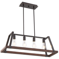 Nuvo 60/6894 Outrigger 4 Light 11 inch Mahogany Bronze and Nutmeg Wood Pendant Ceiling Light