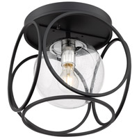 Nuvo 60/6936 Aurora 1 Light 13 inch Black and Polished Nickel Flush Mount Fixture Ceiling Light