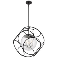 Nuvo 60/6937 Aurora 3 Light 22 inch Black and Polished Nickel Pendant Ceiling Light