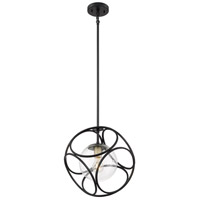 Nuvo 60/6945 Aurora 1 Light 14 inch Black and Vintage Brass Pendant Ceiling Light