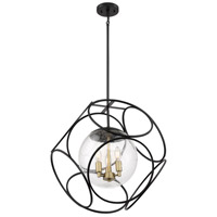 Nuvo 60/6947 Aurora 3 Light 22 inch Black and Vintage Brass Pendant Ceiling Light