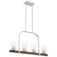 Nuvo 60/6967 Arabel 4 Light 32 inch Brushed Nickel and Nutmeg Wood Island Pendant Ceiling Light