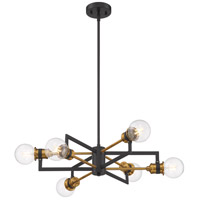 Nuvo 60/6976 Intention 6 Light 24 inch Warm Brass and Black Chandelier Ceiling Light