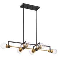 Nuvo 60/6977 Intention 6 Light 33 inch Warm Brass and Black Island Pendant Ceiling Light