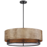 Nuvo 60/6980 Barrique 5 Light 24 inch Black and Honey Wood Pendant Ceiling Light