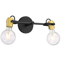 Nuvo 60/6982 Mantra 2 Light 15 inch Black and Brushed Brass Vanity Light Wall Light