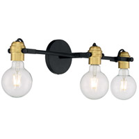 Nuvo 60/6983 Mantra 3 Light 23 inch Black and Brushed Brass Vanity Light Wall Light