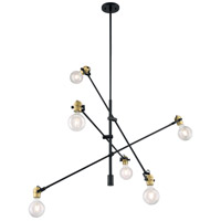 Nuvo 60/6989 Mantra 6 Light 5 inch Black and Brass Accents Pendant Ceiling Light
