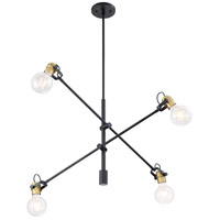 Nuvo 60/6990 Mantra 4 Light 5 inch Black and Brushed Brass Pendant Ceiling Light