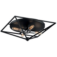 Nuvo 60/7006 Legend 4 Light 19 inch Black and Polished Nickel Flush Mount Fixture Ceiling Light