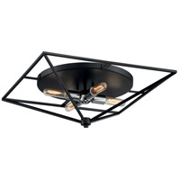 Nuvo 60/7007 Legend 4 Light 22 inch Black and Polished Nickel Flush Mount Fixture Ceiling Light