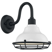 Nuvo 60/7021 Newbridge 1 Light 12 inch Gloss White and Textured Black Outdoor Wall Fixture