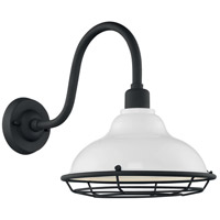 Nuvo 60/7022 Newbridge 1 Light 14 inch Gloss White and Textured Black Outdoor Wall Fixture