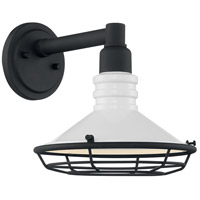 Nuvo 60/7051 Blue Harbor 1 Light 10 inch Gloss White and Textured Black Outdoor Wall Fixture