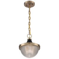 Nuvo 60/7059 Faro 1 Light 10 inch Burnished Brass and Black Accents Pendant Ceiling Light