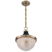 Nuvo 60/7060 Faro 1 Light 13 inch Burnished Brass and Black Accents Pendant Ceiling Light