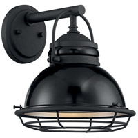 Nuvo 60/7061 Upton 1 Light 11 inch Gloss Black and Silver Outdoor Wall Fixture