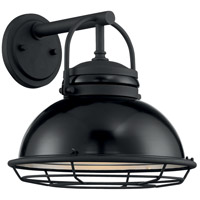 Nuvo 60/7062 Upton 1 Light 12 inch Gloss Black and Silver Outdoor Wall Fixture