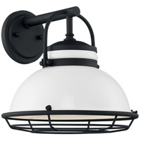 Nuvo 60/7082 Upton 1 Light 12 inch Gloss White and Textured Black Outdoor Wall Fixture