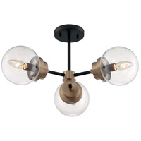 Nuvo 60/7123 Axis 3 Light 23 inch Matte Black and Brass Accents Semi Flush Mount Fixture Ceiling Light