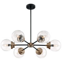 Nuvo 60/7126 Axis 6 Light 30 inch Matte Black and Brass Chandelier Ceiling Light