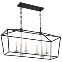 Nuvo 60/7146 Storyteller 6 Light 12 inch Matte Black and Polished Nickel Accents Pendant Ceiling Light