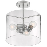 Nuvo 60/7178 Sommerset 3 Light 12 inch Brushed Nickel Semi Flush Mount Fixture Ceiling Light