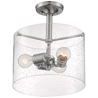 Nuvo 60/7188 Bransel 3 Light 12 inch Brushed Nickel Semi Flush Mount Fixture Ceiling Light