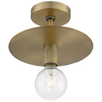 Nuvo 60/7244 Bizet 1 Light 10 inch Vintage Brass Semi Flush Mount Fixture Ceiling Light
