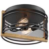 Nuvo 60/7263 Atelier 2 Light 14 inch Black and Honey Wood Flush Mount Fixture Ceiling Light