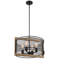 Nuvo 60/7264 Atelier 4 Light 20 inch Black and Honey Wood Pendant Ceiling Light