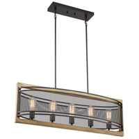 Nuvo 60/7265 Atelier 5 Light 12 inch Black and Honey Wood Pendant Ceiling Light