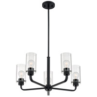 Nuvo 60/7275 Sommerset 5 Light 24 inch Matte Black Chandelier Ceiling Light